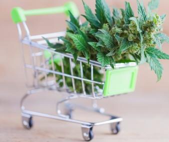 Shopping cart full of cannabis